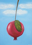 Fruit Tree Art Originals - Pomegranate Sky-large red fruit with big green leaf by Millian Glenn