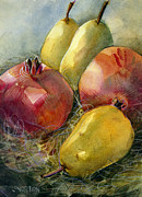 Pear Art Painting Prints - Pomegranates and Pears Print by Jen Norton