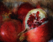 Www.paintedworksbykb.com Posters - Pomegranates Poster by Karen  Burns