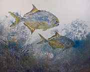 Fish Rubbing Prints - Pompano And Sea Fans Print by Nancy Gorr