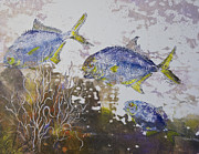 Gyotaku Prints - Pompano Trio Print by Nancy Gorr