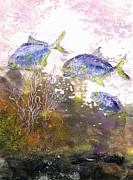 Fish Rubbing Prints - Pompano Trio_verticle Print by Nancy Gorr
