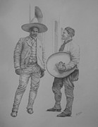 Poncho Drawings - Poncho Villa with his friend Pedro Mendiola by Michael S Dooley sr