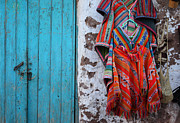 Street Markets Framed Prints - Ponchos for sale Framed Print by James Brunker