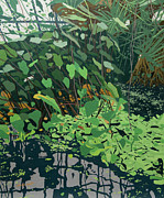 Formal Flower Paintings - Pond and Greenery by Malcolm Warrilow