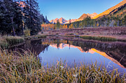 White River Photos - Pond at Maroon Bells by Jennifer Grover