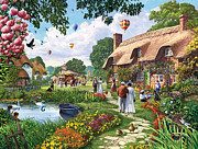 Puzzle Prints - Pond Cottage Print by Steve Crisp