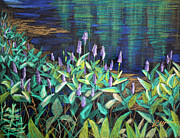 Waterscape Drawings Prints - Pond Flowers 1 Print by Linda Clearwater
