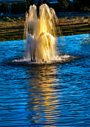 S Landscape Photography Prints - Pond Fountain Print by Robert Bales