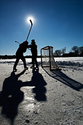 Hockey Net Posters - Pond Hockey-2 Poster by Steve Somerville