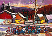 School Houses Painting Posters - Pond Hockey Birch Tree And Mountain Poster by Carole Spandau