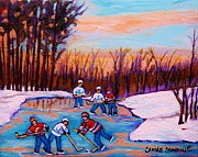 Winter Sports Paintings - Pond Hockey Canadiens Superstars Frozen Pond Winter Landscapes  Carole Spandau Paintings by Carole Spandau