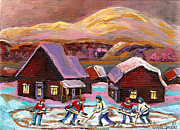 Hockey Painting Posters - Pond Hockey Cozy Winter Scene Poster by Carole Spandau