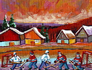 Hockey Paintings - Pond Hockey Game 2 by Carole Spandau