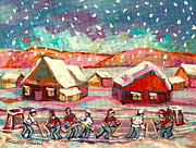 Hockey In Montreal Paintings - Pond Hockey Game 3 by Carole Spandau