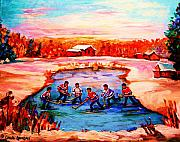 Hockey Rinks Paintings - Pond Hockey Game By Montreal Hockey Artist Carole Spandau by Carole Spandau