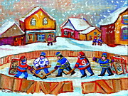 Hockey In Montreal Paintings - Pond Hockey Game by Carole Spandau