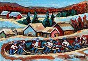 School Houses Painting Posters - Pond Hockey Game In The Country Poster by Carole Spandau