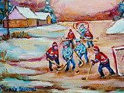 Hockey Players Paintings - Pond Hockey In The Country On Frozen Pond Canadain Winter Landscapes Carole Spandau by Carole Spandau