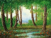 Sicily Paintings - Pond in the wood by Luciano Torsi