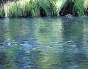 Edge Pastels - Pond reflections 1 by Theresa Hodges