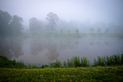 Ashe Photos - Pond with Fog by Melinda Fawver