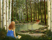 Pond And Trees Painting Acrylic Prints - Pondering  Acrylic Print by Ellen Strope