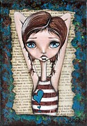 Pondering Mixed Media Prints - Pondering Print by Lizzy Love of Oddball Art Co