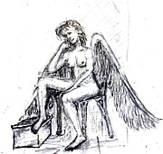 Angel Drawings - Pondering by Robin Kirkpatrick