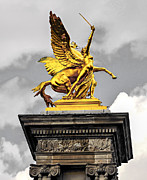 Historic Statue Photo Posters - Pont Alexander III fragment in Paris Poster by Elena Elisseeva