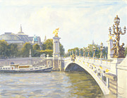 1900 Architecture Paintings - Pont Alexandre III by Julian Barrow