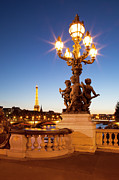 Night Lamp Prints - Pont Alexandre III - Paris Print by Brian Jannsen