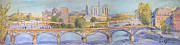 River Scenes Mixed Media Prints - Pont des Arts Print by Dorothy Fagan