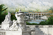 In-city Prints - Pont du Gard Roman Aqueduct Print by Catf