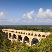 Languedoc Photo Prints - Pont du Gard Roman Aqueduct Languedoc Roussillon France Print by Colin and Linda McKie