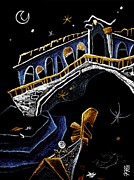 Night Lamp Pastels Prints - PoNTe Di RiALTo - Grand Canal Venise Gondola Illustration Print by Arte Venezia