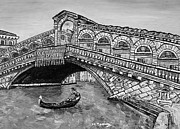 Grande Drawings Framed Prints - Ponte di Rialto Framed Print by Loredana Messina