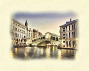 T Travel Prints - Ponte di Rialto Print by Mo T