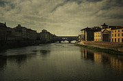 Tuscan Sunset Digital Art Framed Prints - Ponte Vecchio 2 Framed Print by Belinda Greb