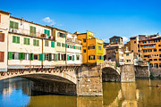 Tuscan Sunset Photo Posters - Ponte Vecchio at sunset Poster by JR Photography