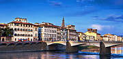 Ponte Vecchio Bridge At Twilight Print by Susan  Schmitz