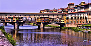 Famous Bridge Metal Prints - Ponte Vecchio Bridge - Florence Metal Print by Jon Berghoff