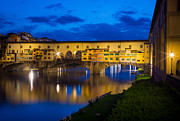 Tuscan Sunset Posters - Ponte Vecchio Reflection Poster by Inge Johnsson
