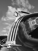 1948 Pontiac Chief Framed Prints - Pontiac Indian Hood Ornament Black and White Framed Print by Gill Billington
