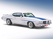 Blue Car Framed Prints - Pontiac LeMans GT 1972 Framed Print by Sanely Great