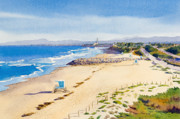 Diego Painting Posters - Ponto Beach Carlsbad California Poster by Mary Helmreich