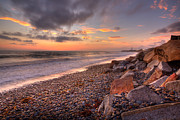 Rocky Beach Prints - Ponto Twilight Print by Peter Tellone