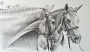 Pony Drawings Originals - Pony Hunters by Kristine Kondian Partin