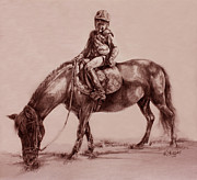 Pony Drawings - Pony Rider by Derrick Higgins