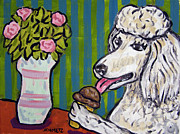 Jay Schmetz Metal Prints - Poodle at the Ice Cream Parlour Metal Print by Jay  Schmetz